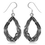 925 Sterling Silver Banana Leaf Drop Shape w/Antique Finishing Dangle Earrings