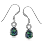 Abalone/Paua Shell Inlay 925 Sterling Silver Drop Dangle Hook Earrings