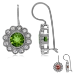 Synthetic Color Change Diaspore & White CZ Gold Plated 925 Sterling Silver Flower Hook Earrings