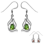 Synthetic Color Change Diaspore Gold Plated 925 Sterling Silver Filigree Leaf Drop Dangle Earrings