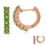 Synthetic Color Change Diaspore Rose Gold Plated 925 Sterling Silver Journey Huggie Earrings
