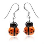 Orange Ladybug Glass Bead 925 Ster...