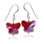 Butterfly Shape Red Crystal 925 Sterling Silver Dangle Hook Earrings