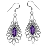 3.04ct. Natural African Amethyst White Gold Plated 925 Sterling Silver Dangle Hook Earrings