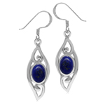 Genuine Oval Shape Lapis 925 Sterling Silver Filigree Swirl Drop Dangle Earrings