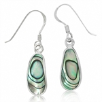 Abalone/Paua Shell Inlay 925 Sterling Silver Dangle Drop Earrings