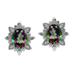 Imperial Style 4.5 Ctw Genuine Mystic Fire Rainbow Topaz Gem 925 Sterling Silver Stud Earrings