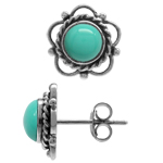 Created Green Turquoise 925 Sterling Silver Flower Stud Earrings