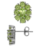 2.84ct. Natural Peridot White Gold Plated 925 Sterling Silver Flower Cluster Post Earrings