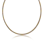 Italian Made Yellow, Rose & White Gold Plated 925 Sterling Silver Chain Choker 16 Inch