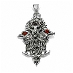 Red CZ & Black Onyx 925 Sterling Silver Lion Face & Eagle Biker Designer Pendant