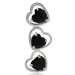 3 Stone Black CZ 925 Sterling Silver Heart Pendant