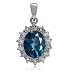 3.12ct. Genuine London Blue Topaz Gold Plated 925 Sterling Silver Flower Cluster Pendant