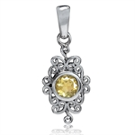 Natural Citrine 925 Sterling Silver Victorian Style Filigree Pendant
