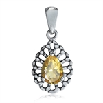Natural Citrine 925 Sterling Silver Filigree Drop Pendant