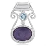 Charoite & Blue Topaz 925 Sterling Silver Gothic Pendant