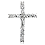 1.28ct. Genuine White Topaz 925 Sterling Silver Cross Pendant