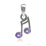Natural Amethyst White Gold Plated 925 Sterling Silver Musical Note Pendant