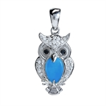 Created Blue Turquoise & CZ White Gold Plated 925 Sterling Silver Wise Owl Pendant