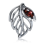 Natural Garnet 925 Sterling Silver Leaf Filigree Solitaire Pendant