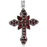 4.48ct. Natural Garnet 925 Sterling Silver Vintage Style Cross Pendant