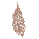 White CZ Rose Gold Plated 925 Sterling Silver Feather Pendant