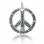 925 Silver Plated PEACE SIGN Pendant