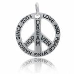925 Silver Plated PEACE SIGN Penda...