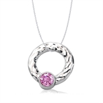 Pink CZ Hammered Stainless Steel Circle Floating Pendant by Inori