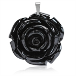40MM Black Stainless Steel Plastic ROSE/FLOWER Pendant