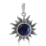 8MM Genuine Lapis 925 Sterling Silver Sun Ray Inspired Solitaire Pendant