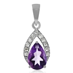 1.14ct. Natural Amethyst & White Topaz 925 Sterling Silver Drop Pendant