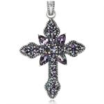 3.73ct. Mystic Fire Topaz 925 Sterling Silver Vintage Style Cross Pendant