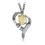 Genuine Opal & White Topaz Gold Plated 925 Sterling Silver Modern Heart Pendant