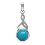 7MM Genuine Round Arizona Turquoise White Gold Plated 925 Sterling Silver Casual Solitaire Pendant