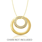 CZ Gold Tone PVD Stainless Steel Double Circle Floating Pendant by Inori