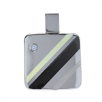 CZ 3-Tone Stainless Steel Modern Square Pendant