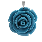 40MM Turquoise Blue Stainless Steel Plastic ROSE/FLOWER Pendant