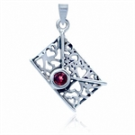 Natural January Birthstone Garnet 925 Sterling Silver Filigree Envelope Pendant