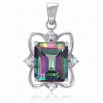 7.5ct Mystic & White Topaz 925 Sterling Silver Ribbon Pendant