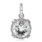 3.3ct. 10MM Natural Round Shape White Quartz & Topaz 925 Sterling Silver Pendant