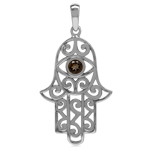 Natural Smoky Quartz 925 Sterling Silver Evil Eye On Hamsa Hand Pendant