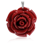 40MM Red Stainless Steel Plastic ROSE/FLOWER Pendant