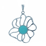 Green Turquoise Sterling Silver Unique Flower Pendant