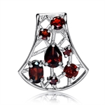 Natural Garnet White Gold Plated 925 Sterling Silver Filigree Slide Pendant