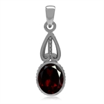 2.81ct. Natural Oval 10MM*8MM Garnet Gold Plated 925 Sterling Victorian Style Pendant