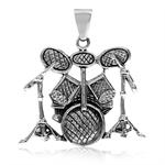 925 Sterling Silver DRUM KIT/SET Musical Instrument Pendant