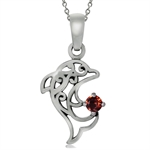 Natural Garnet 925 Sterling Silver Dolphin Filigree Solitaire Pendant w/ 18 Inch Chain Necklace