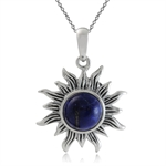 Genuine Lapis 925 Sterling Silver Sun Ray Inspired Pendant w/ 18 Inch Chain Necklace
