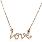 Diamond in Rose Gold Plated 925 Sterling Silver LOVE Pendant w/ 17 Inch Chain
